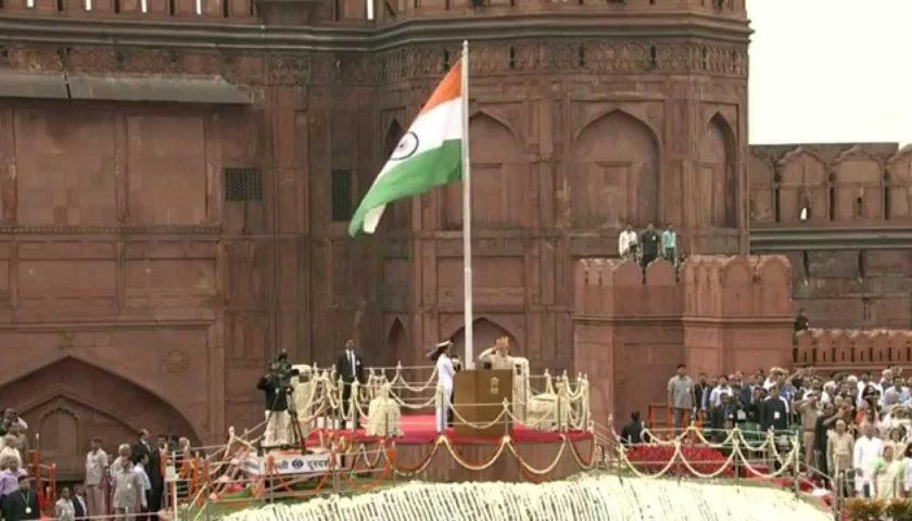 Prime Minister of India unfurls the National Flag