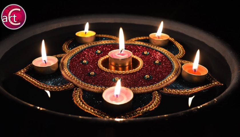 Diwali Decoration with floating diyas
