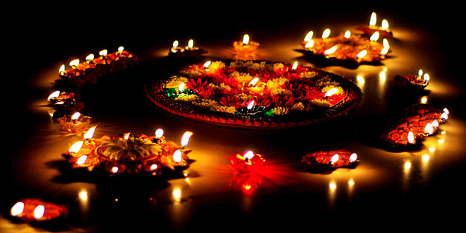 Diwali decorations with earthen diyas