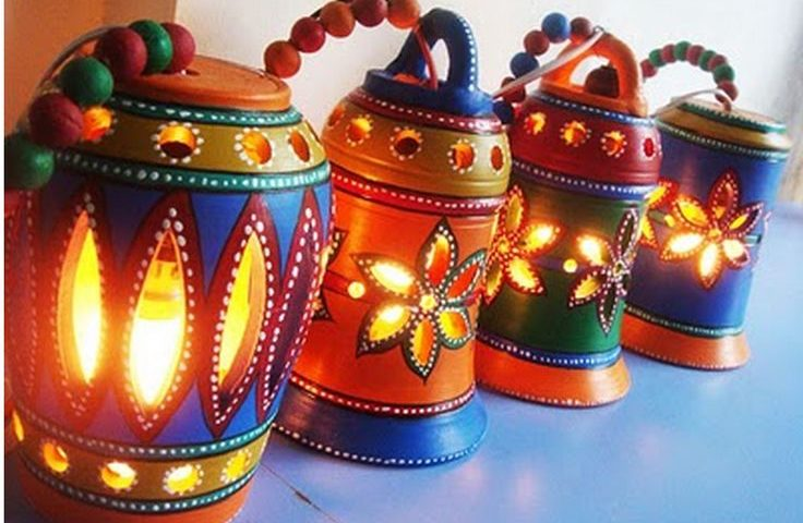 Diwali decorations with earthen lamps