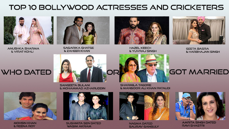 10 Bollywood Actresses and Cricketers Who dated or got Married