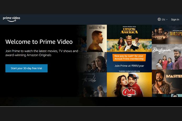 website view of amazonprimevideo