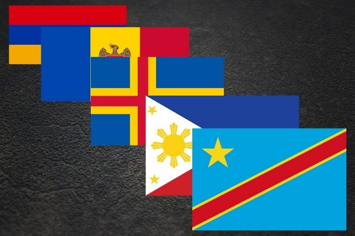 Top 10 countries with red, yellow, and blue flags